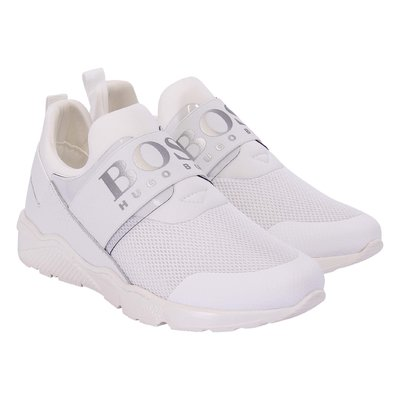 Hugo Boss white perspiring microfibre sneakers