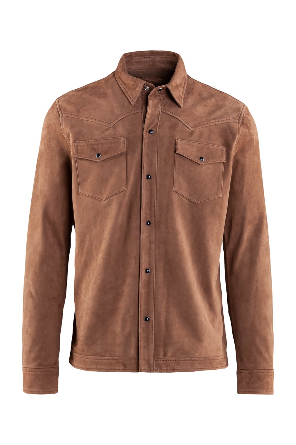 Shirt-jacket in suede leather