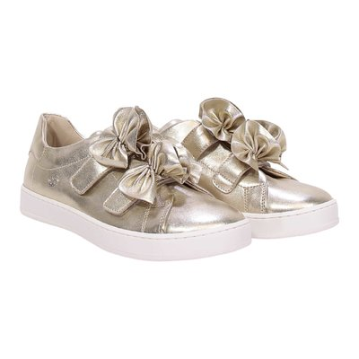 Golden leather sneakers with velcro