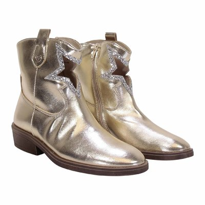Golden faux leather camperos boots with glitter