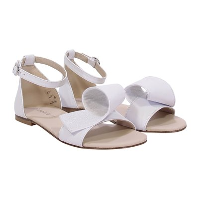 White faux leather sandals