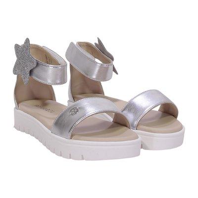 Golden faux leather sandals