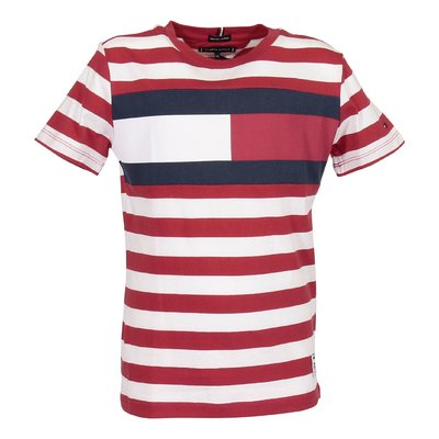 Red and white striped logo detail organic cotton jersey t-shirt