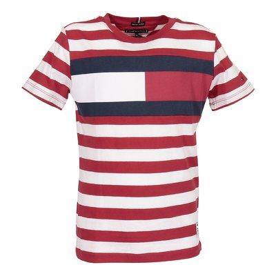 T-shirt rossa e bianca a righe in jersey di cotone organico con dettaglio logo