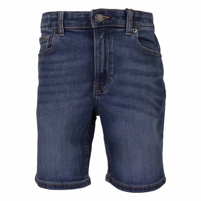 Vintage effect stretch cotton denim shorts