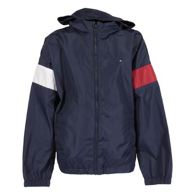 Nylon rain jacket with hood