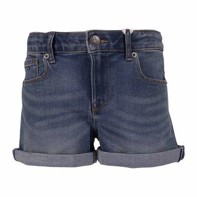 Shorts in cotone denim stretch effetto vissuto