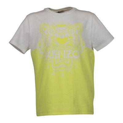 White and yellow cotton blend Tiger t-shirt