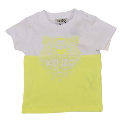 KENZO white and yellow cotton jersey Tiger t-shirt