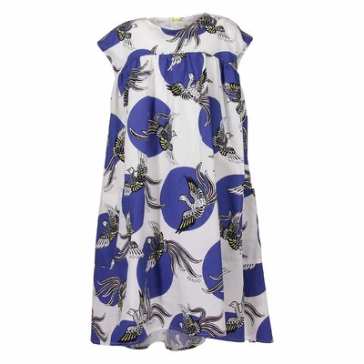 White and blue printed cotton poplin dress