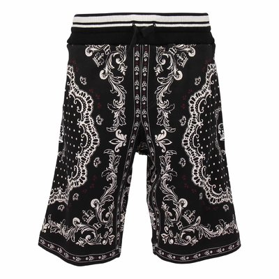 Black printed cotton sweatshorts