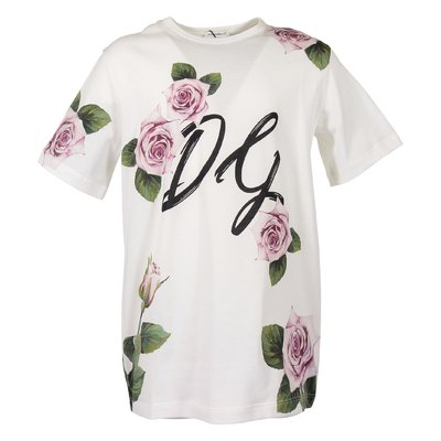 T-shirt bianca tema tropical rose in jersey di cotone
