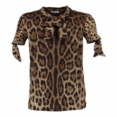 T-shirt animalier in jersey di cotone