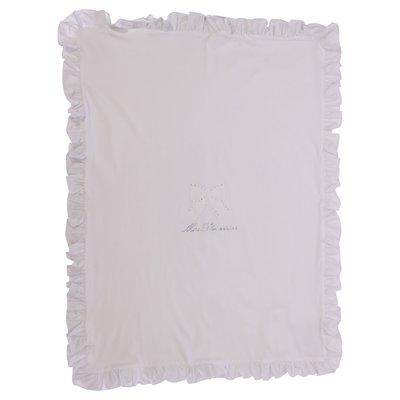Coperta bianca in jersey di cotone con dettaglio logo