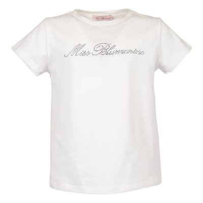 Miss Blumarine white logo detail cotton jersey t-shirt