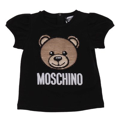 Black cotton jersey Teddy Bear t-shirt