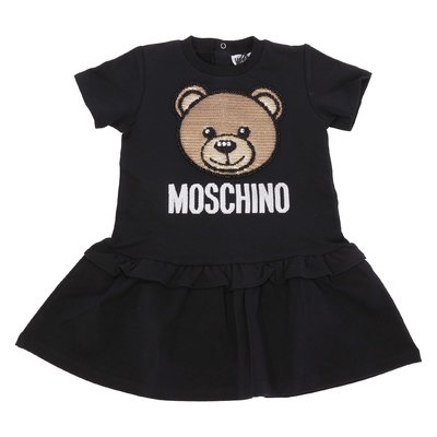 Black cotton jersey Teddy Bear dress