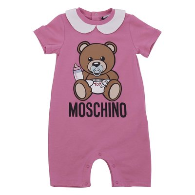 Pink cotton jersey Teddy Bear romper
