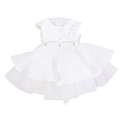 Modì white satin formal dress with crystals