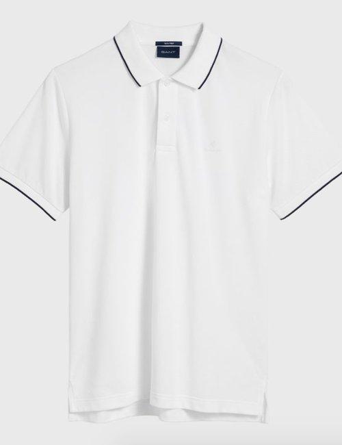 Polo Gant con bordi a contrasto - Bianco