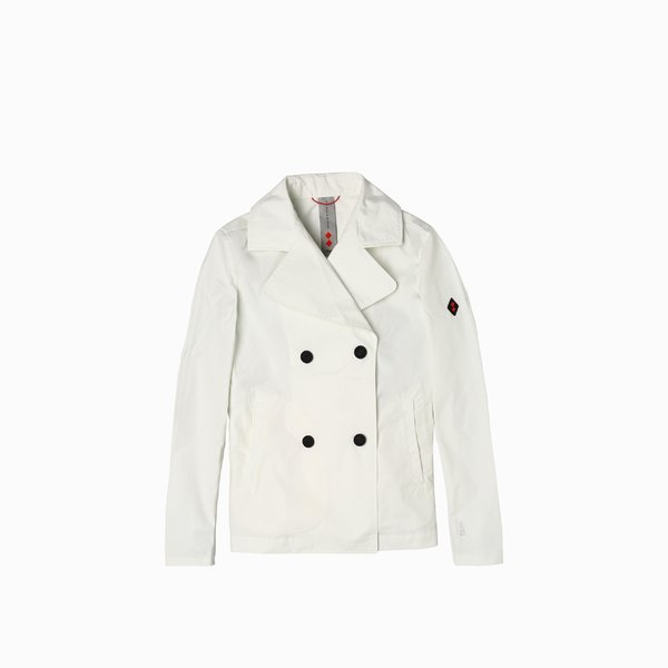 E209 woman jacket with double breast and plain color