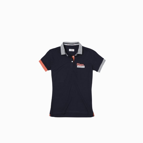 Polo shirt E254 with three buttons and short sleeves