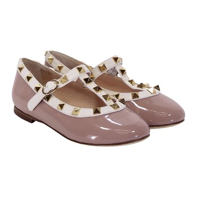 Powder pink patent leather ballerinas with studs