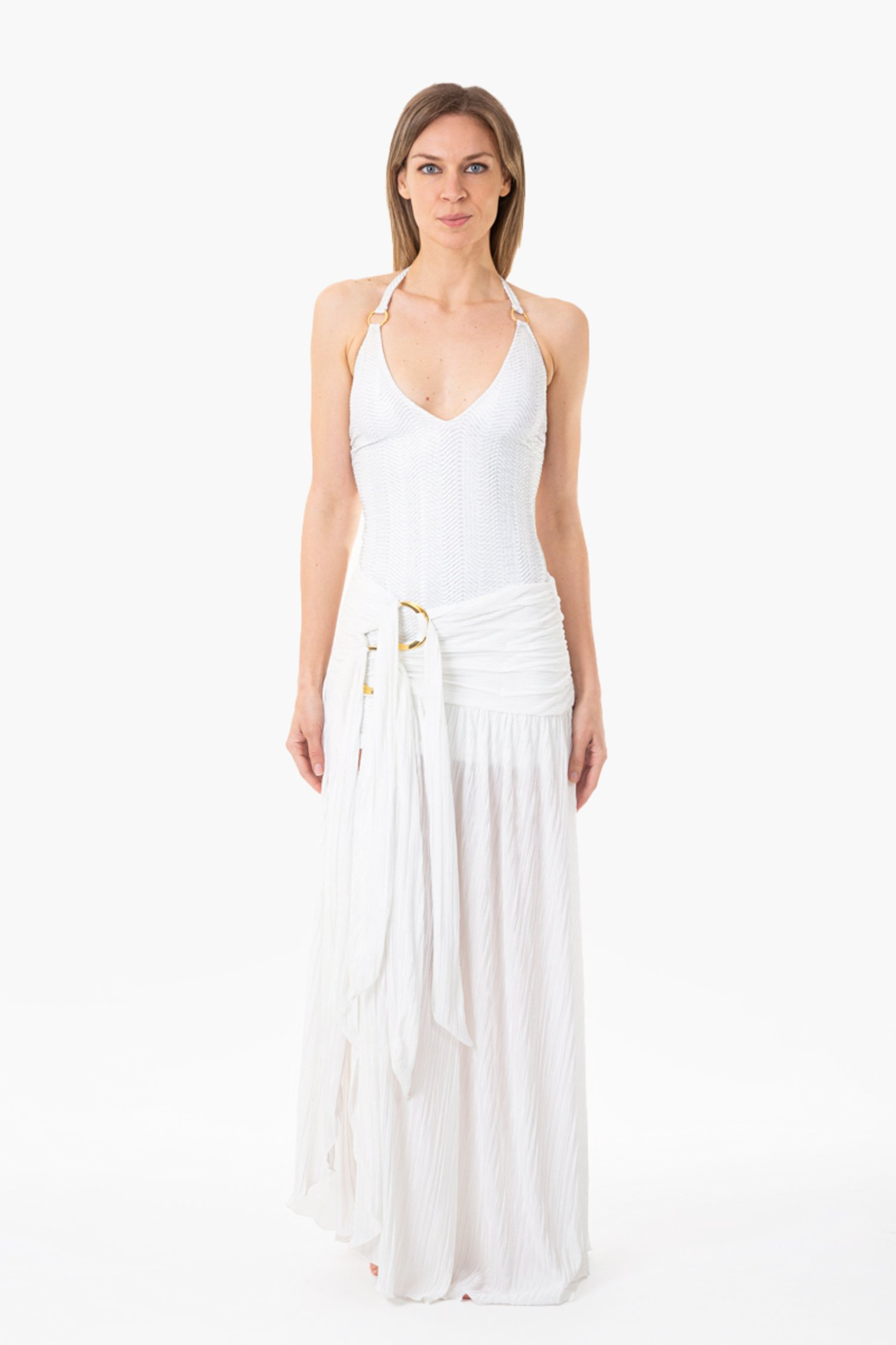 DRESS WITH RINGS, WIDE SKIRT AND RINGS - Microfibra Operata Splamata Bianco