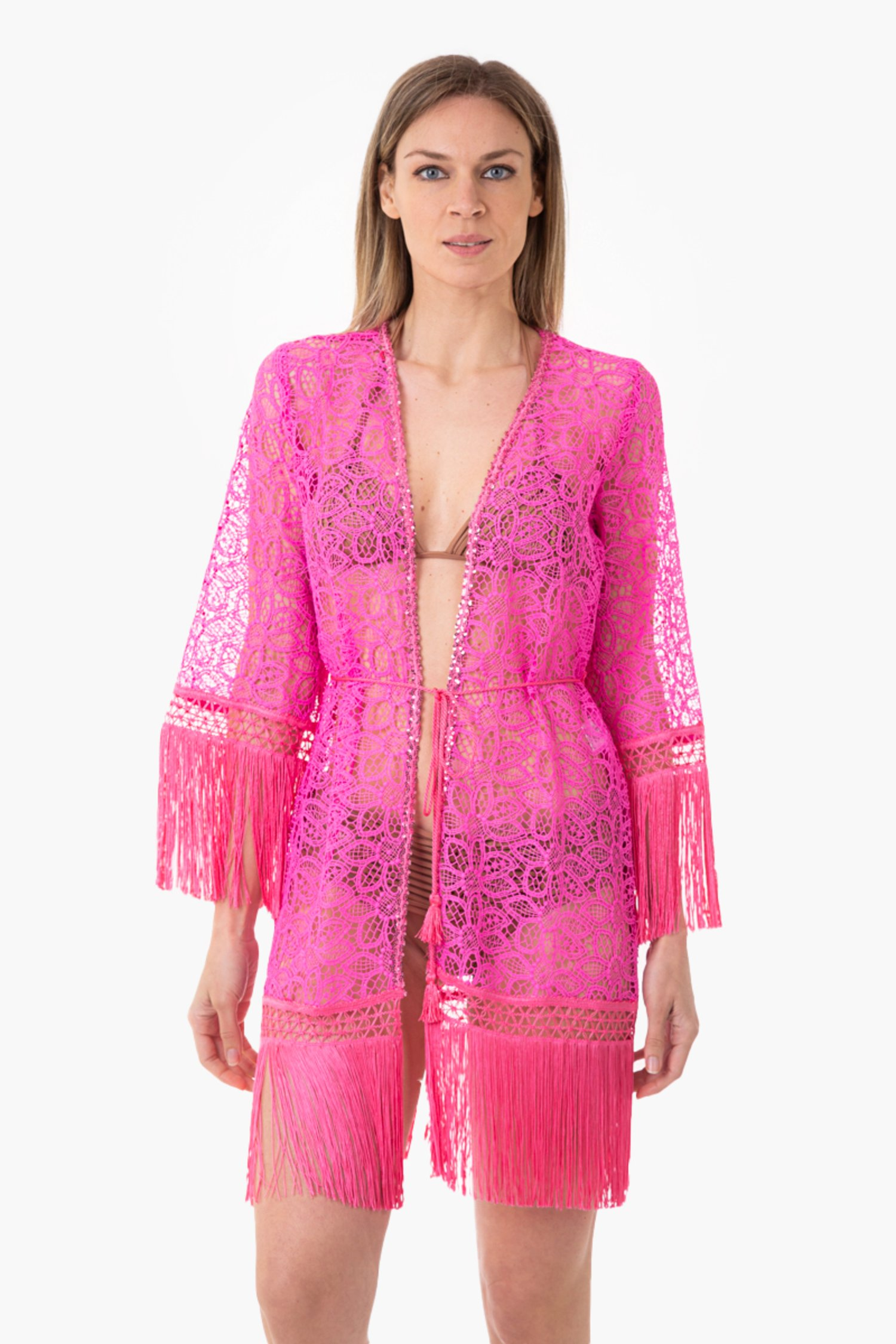 SHORT VEST IN LACE - Pizzo Macrame' Camelia