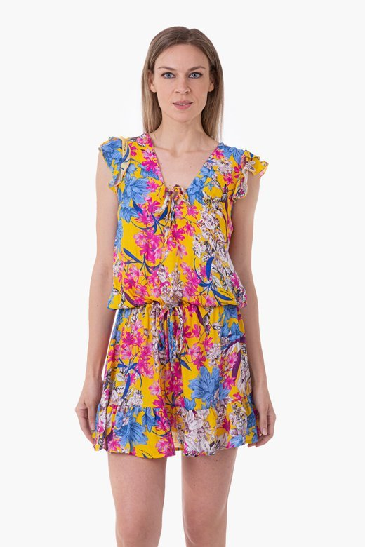 VISCOSE PRINTED SHORT DRESS WITH RUCHES