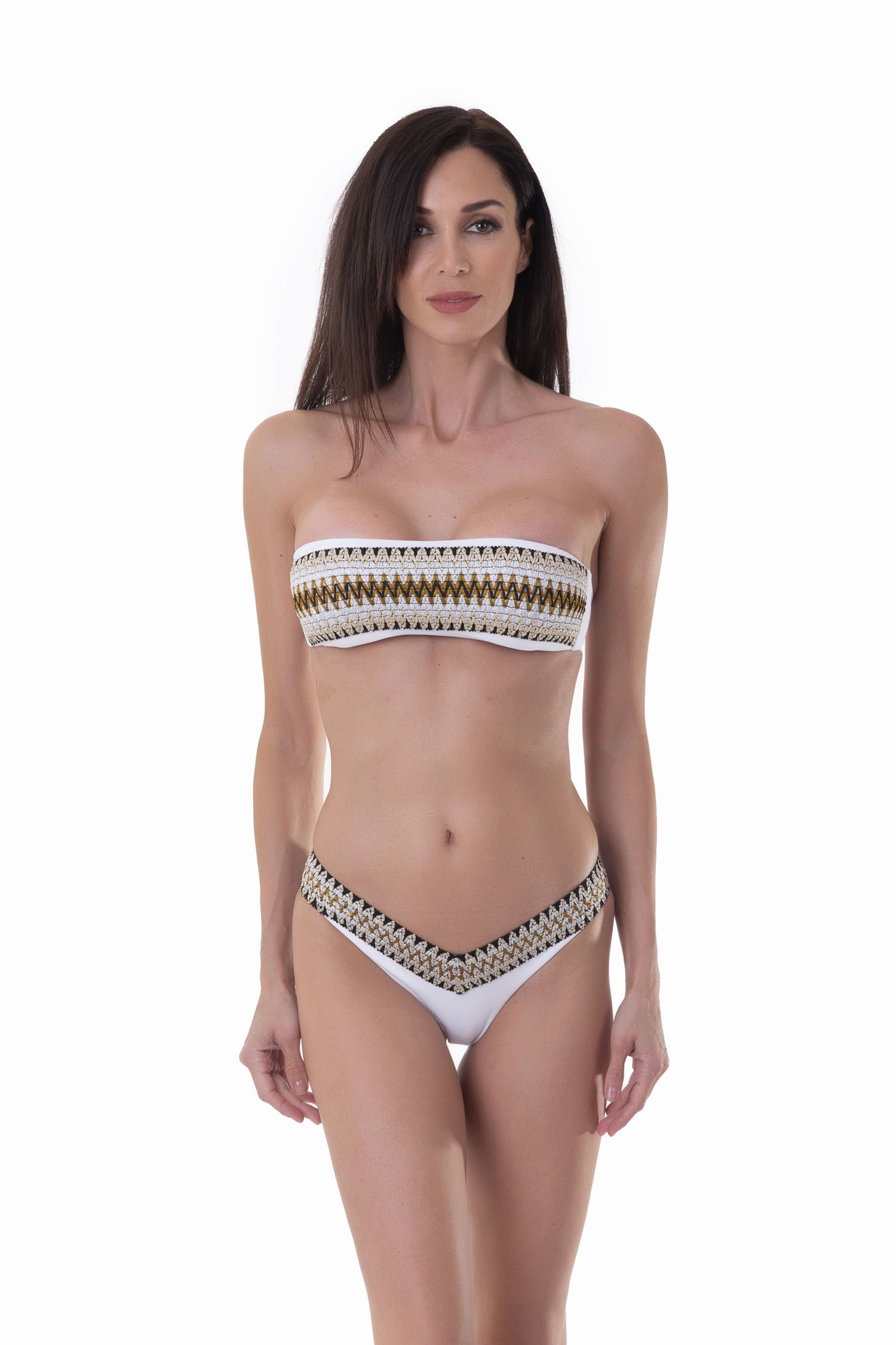 BANDEAU BIKINI WITH LUREX ELASTICS AND HIGH-LEG BOTTOM - Bianco White 001