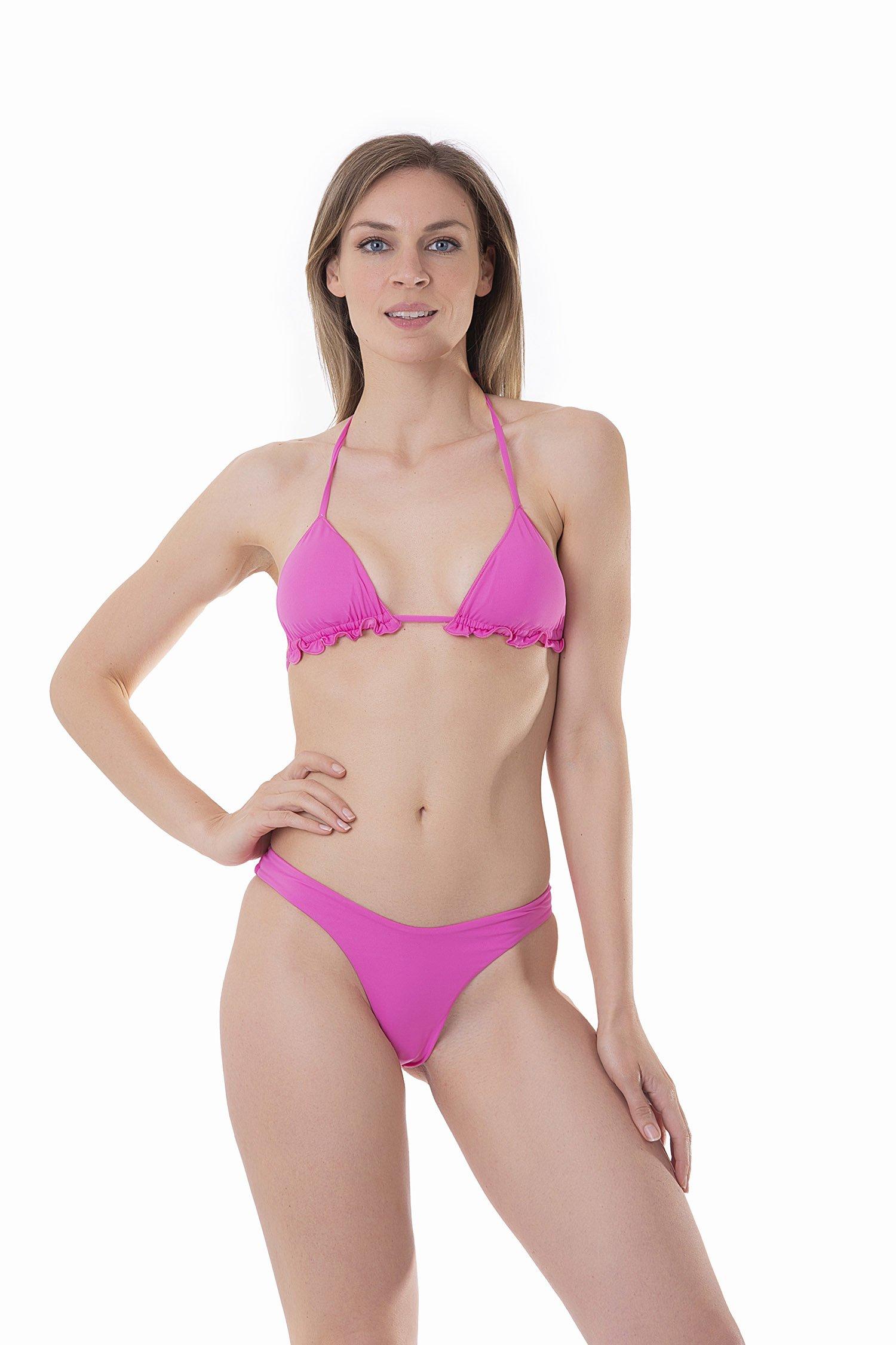 BASIC TRIANGLE TOP HIGH-LEG BOTTOM SOLID COLOUR - Rosa Camelia 355