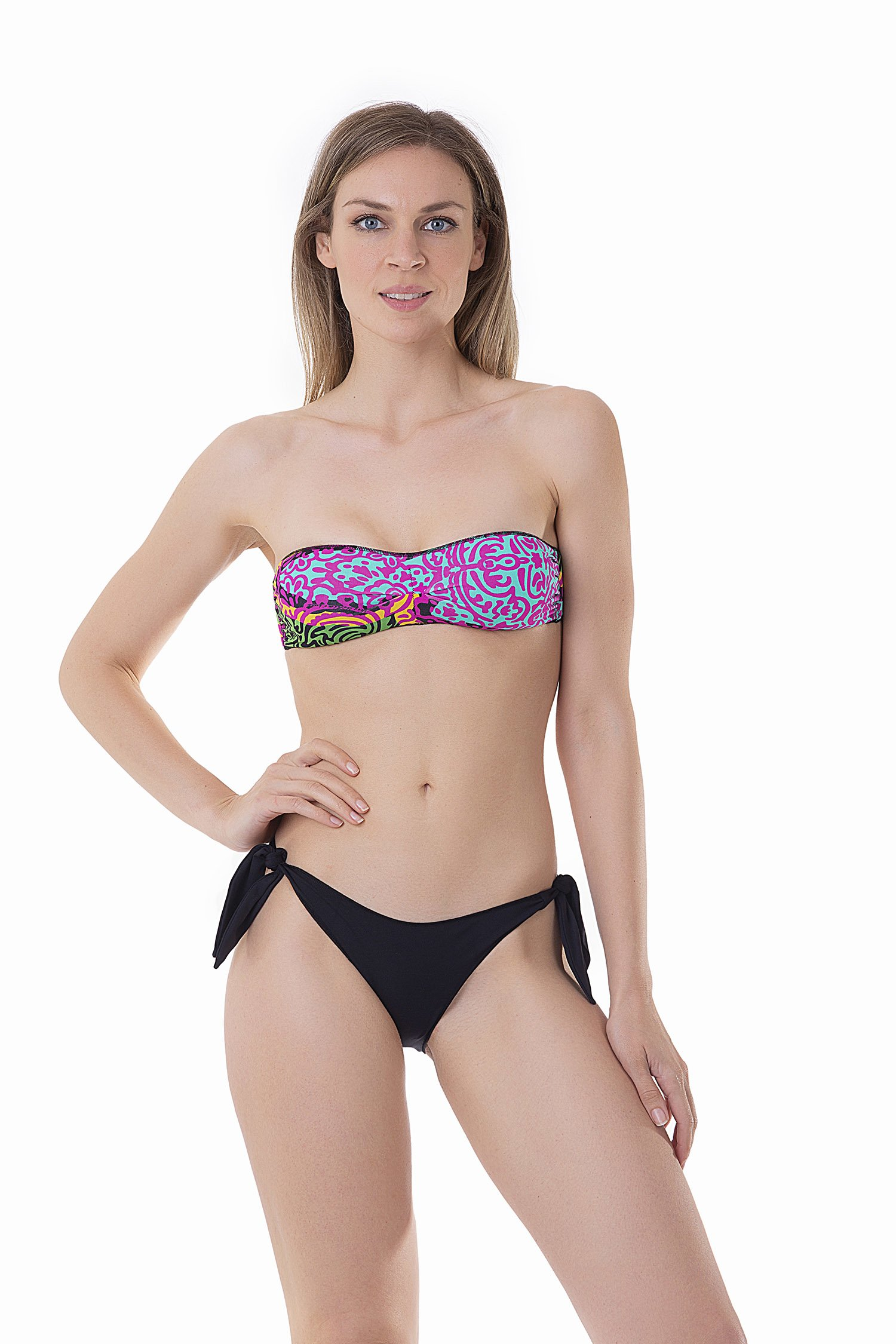 BASIC BANDEAU BIKINI BOTTOM WITH KNOTTED STRAPS MIX PRINTED AND SOLID COLOUR - Pofu+Mipr