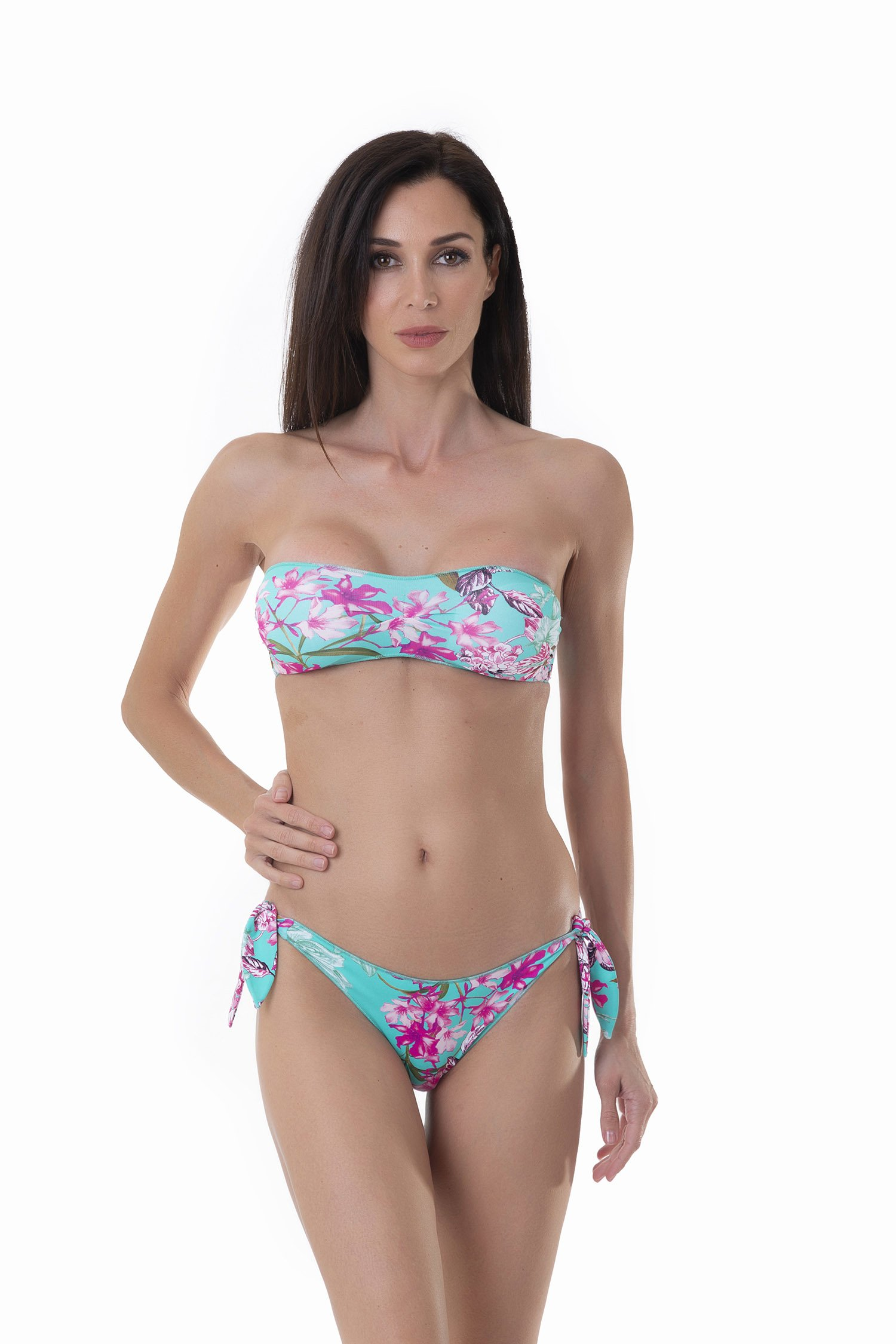 PRINTED BASIC BANDEAU BIKINI BOTTOM WITH KNOTTED STRAPS - Fiori Azzurro