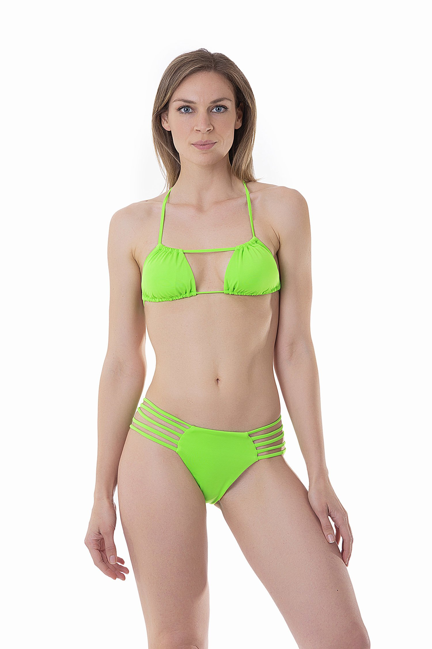 FLUORESCENT TRIANGLE BIKINI WITH CROSSED TIE AND BOTTOM WITH SIDE CUT OUT STRINGS - Intensity Verde Fluo