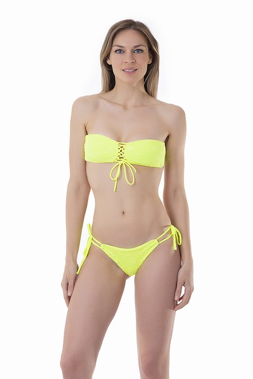 FLUORESCENT FRONT STRING BANDEAU BIKINI WITH LACE APPLICATIONS