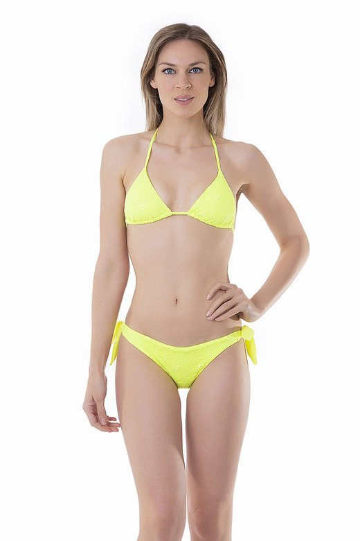 FLUORESCENT TRIANGLE BIKINI WITH LACE APPLICATIONS