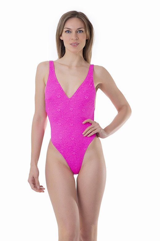 FLUORESCENT ONE-PIECE WITH LACE APPLICATION