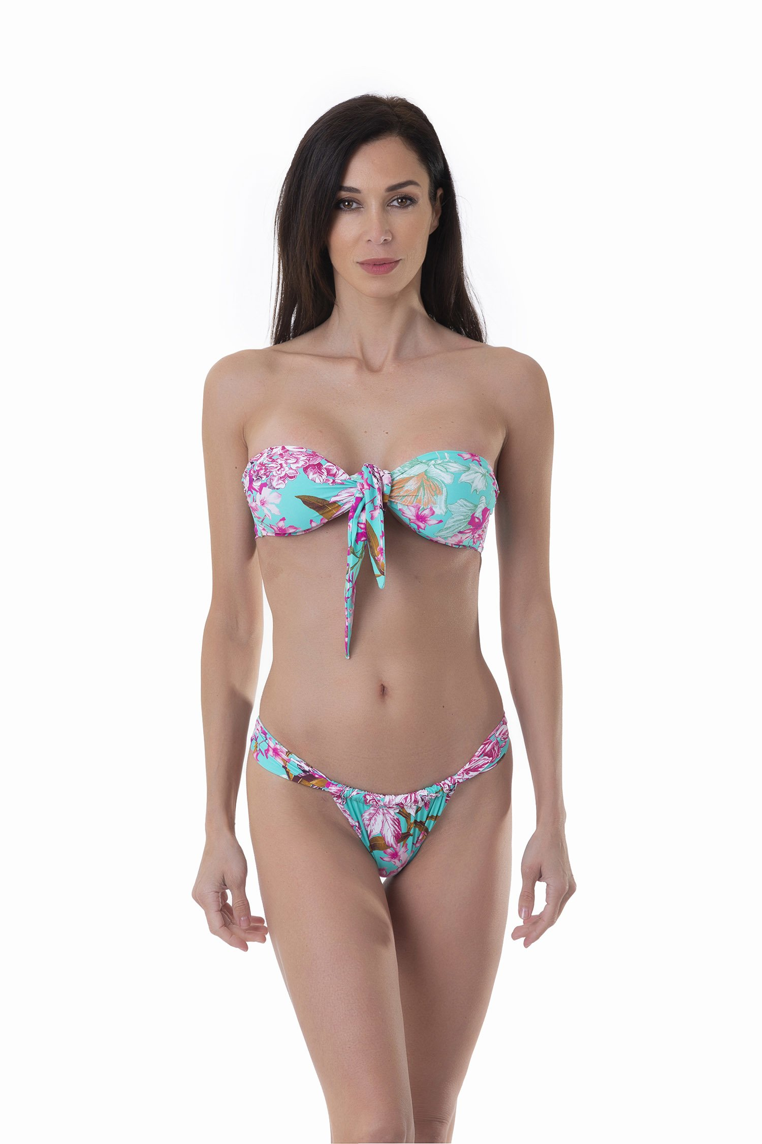 PRINTED BANDEAU BIKINI WITH CENTRAL KNOT AND CHEEKY BOTTOM - Fiori Azzurro