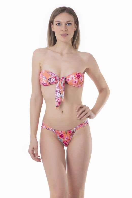 PRINTED BANDEAU BIKINI WITH CENTRAL KNOT AND CHEEKY BOTTOM