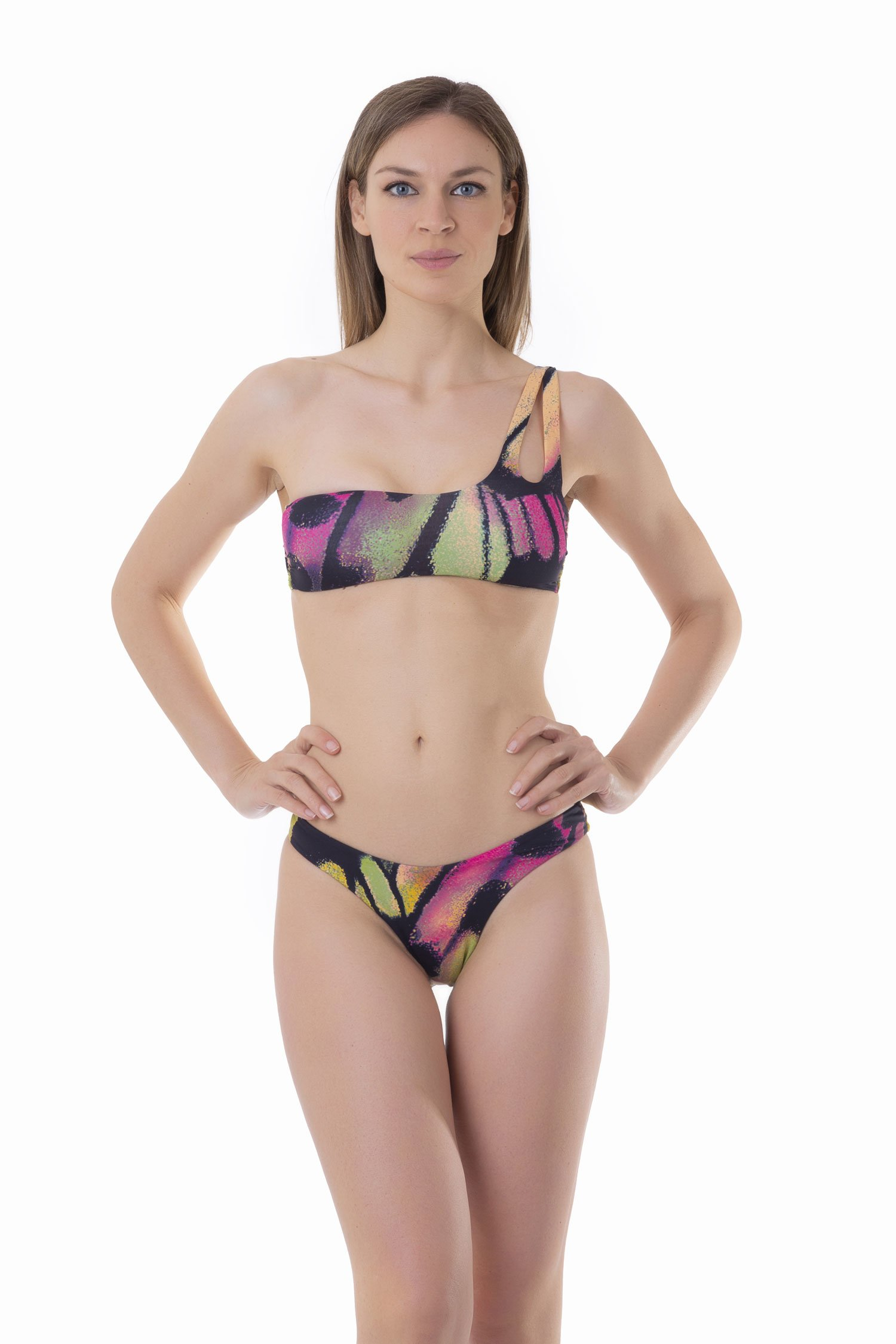 ONE-SHOULDER BIKINI WITH BRAZILIAN BOTTOM - Farfalle Arancio