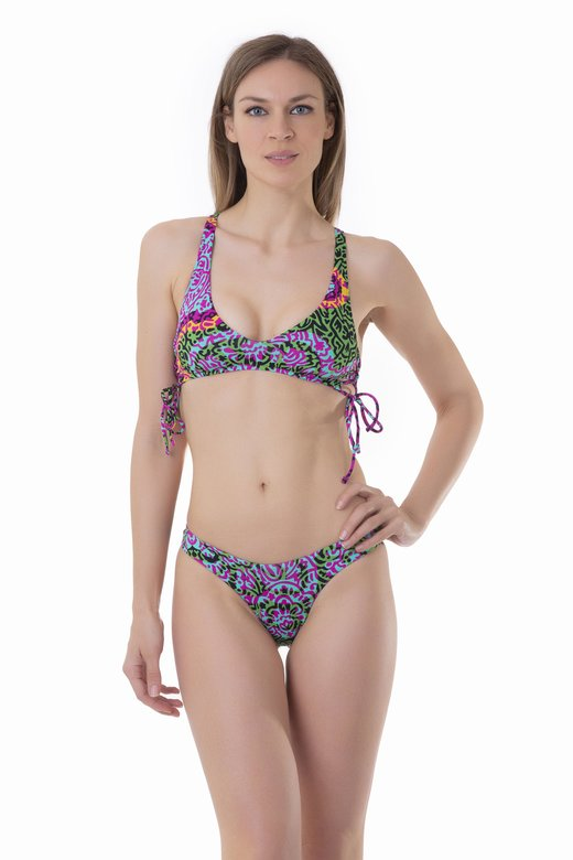 PRINTED BRALETTE BIKINI WITH SIDE STRINGS AND HIGH-LEG BOTTOM