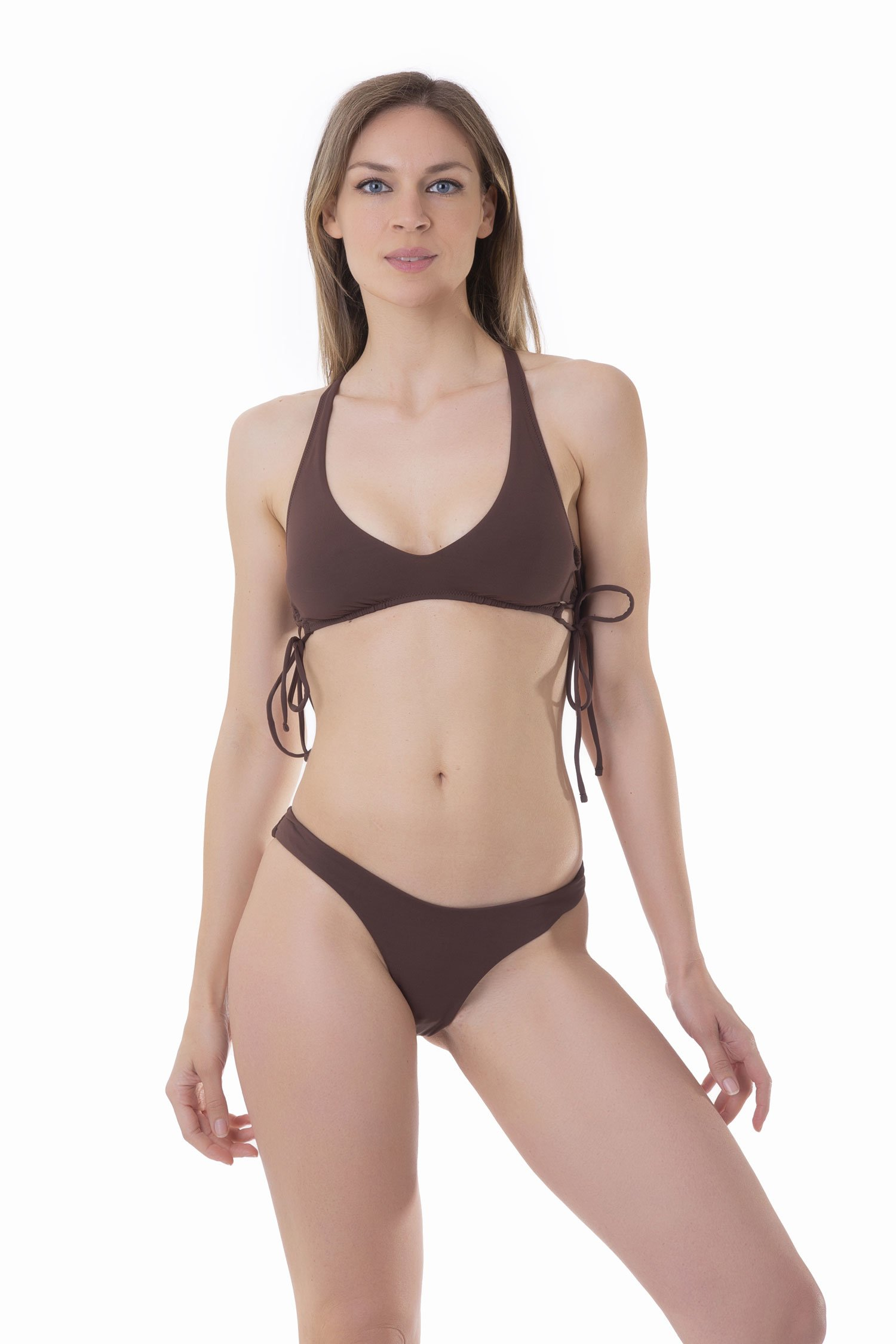 SOLID COLOUR BRALETTE BIKINI WITH SIDE STRINGS AND HIGH-LEG BOTTOM - Marrone Sacher