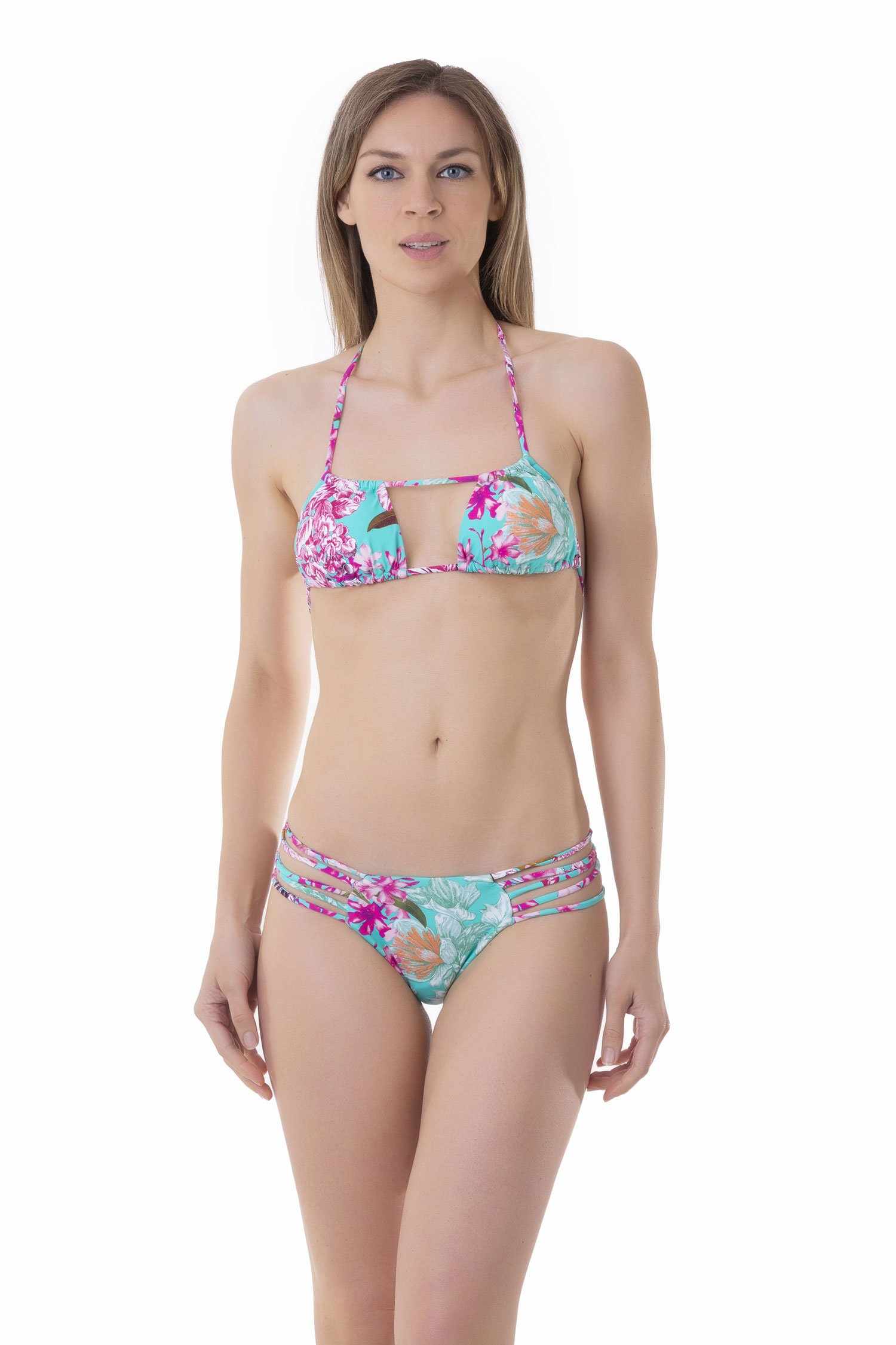 PRINTED TRIANGLE BIKINI WITH CROSSED TIE - Fiori Azzurro
