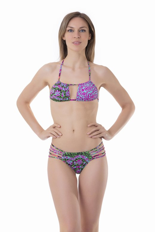 PRINTED TRIANGLE BIKINI WITH CROSSED TIE
