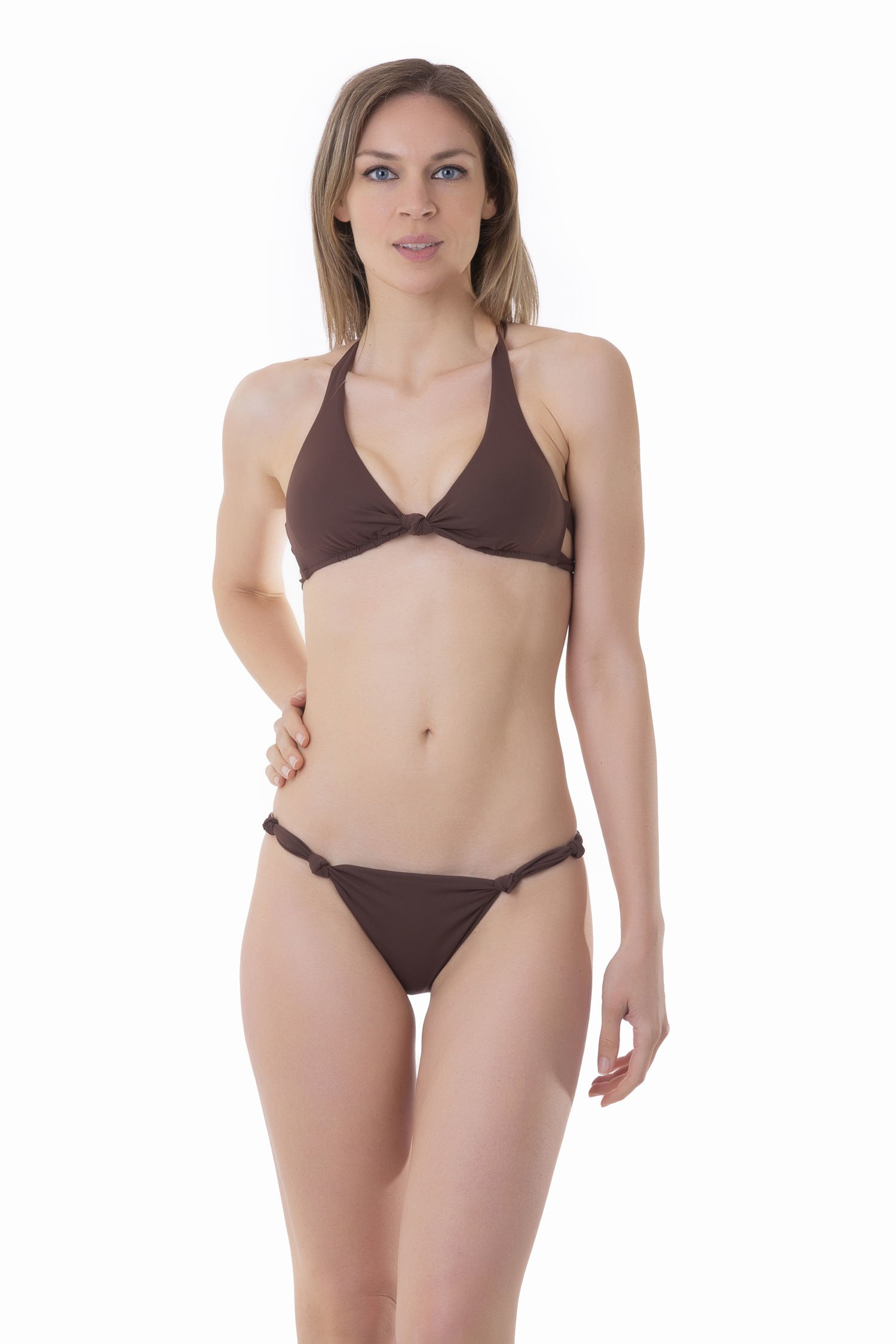 SOLID COLOUR BRALETTE BIKINI WITH KNOTS - Marrone Sacher