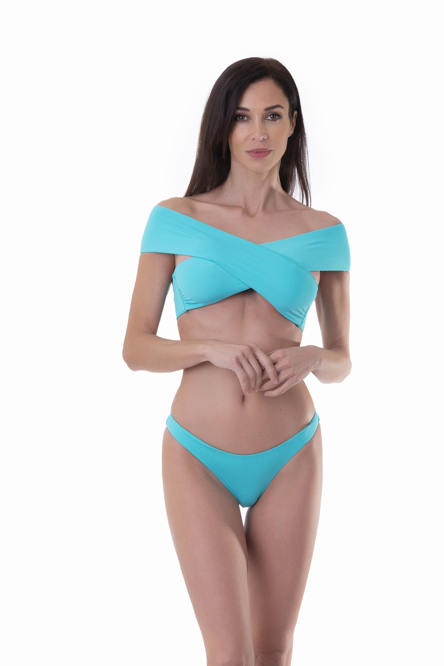 SOLID COLOUR BIKINI TOP WITH CROSSED BANDS - Turchese Ciano