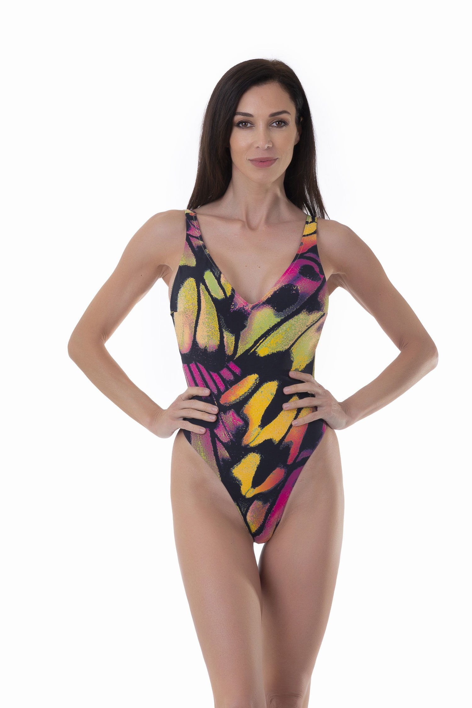 PRINTED ONE-PIECE WITH DEEP V-NECKLINE - Farfalle Arancio