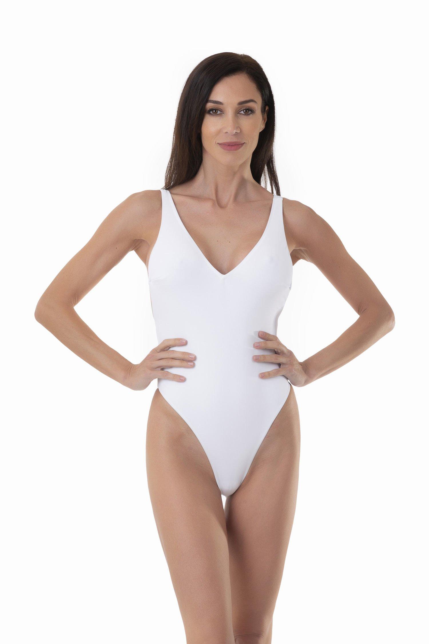 COSTUME INTERO  A TINTA UNITA CON SCOLLO PROFONDO A V - Bianco White 001