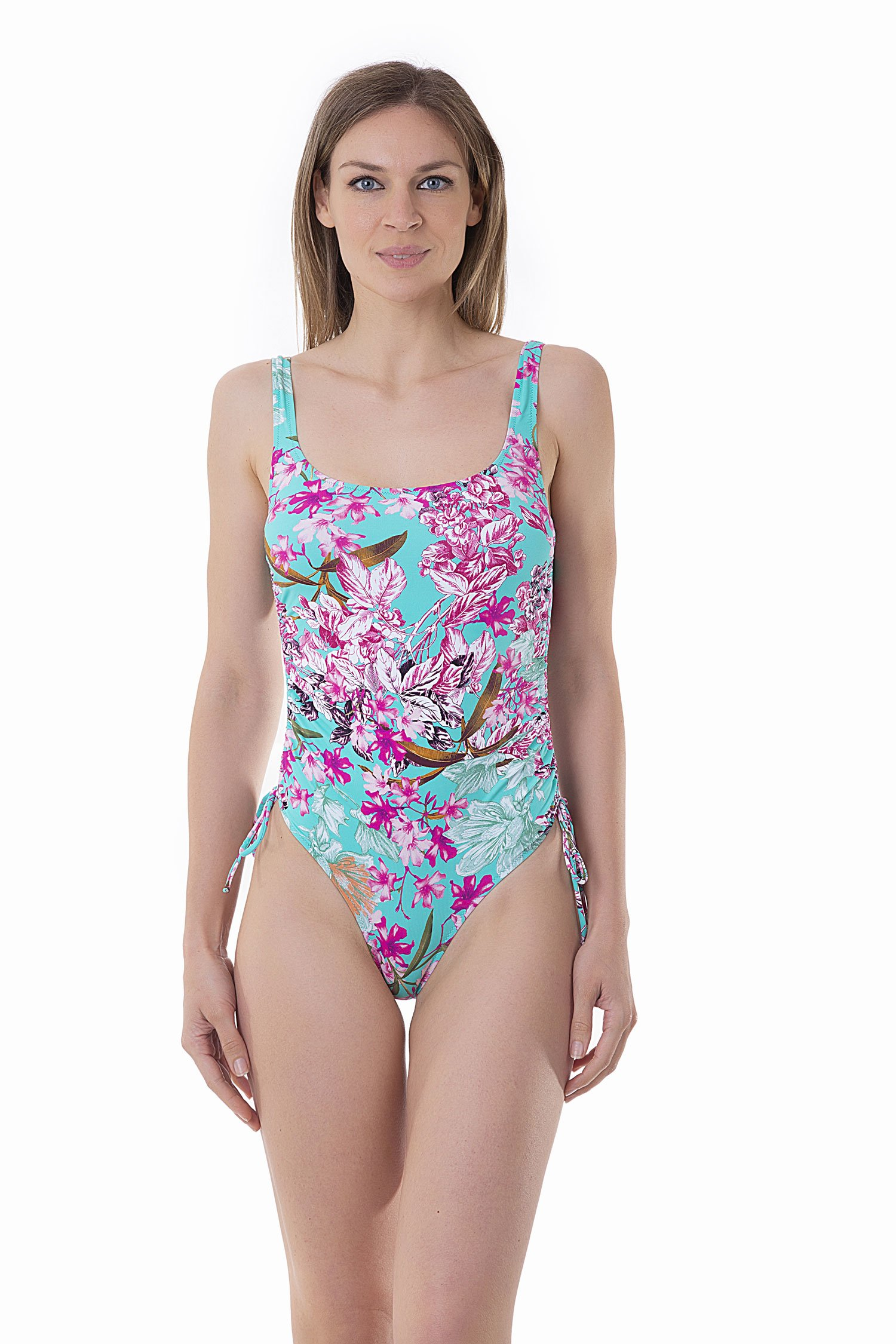 PRINTED TANK ONE-PIECE WITH DRAWSTRING - Fiori Azzurro